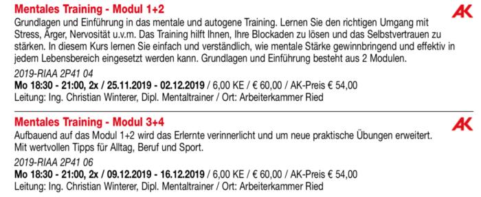 Mentalkurs VHS Ried Herbst 2019